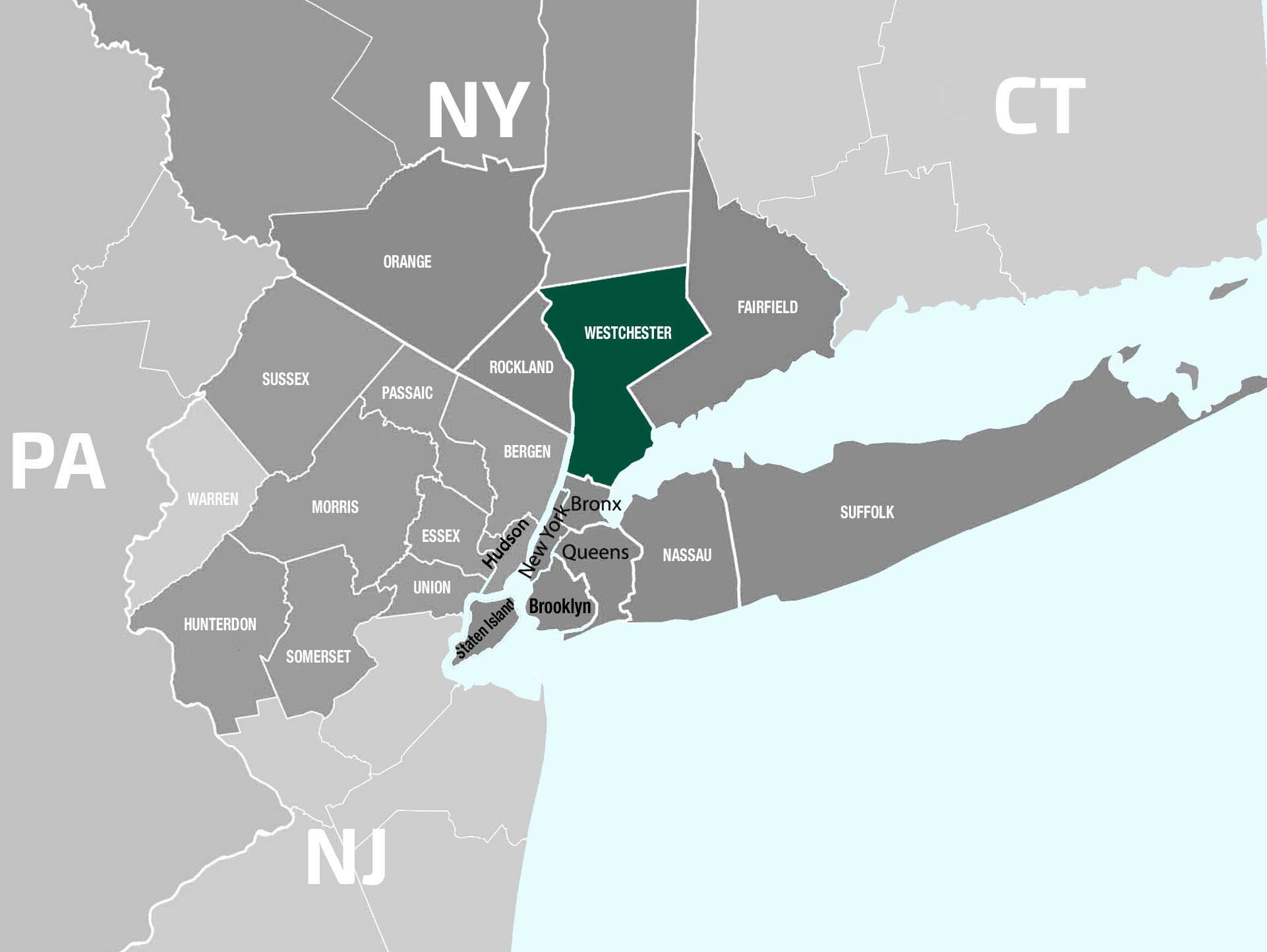 Westchester NY Map